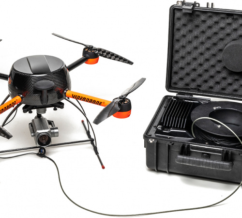 VideoDrone with tetherd station